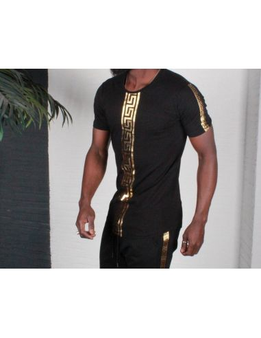 Men's Black T Shirt With Gold color design