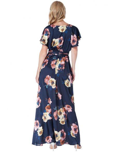 Navy Floral Flutter Sleeve Maxi Dress with Tie Waist