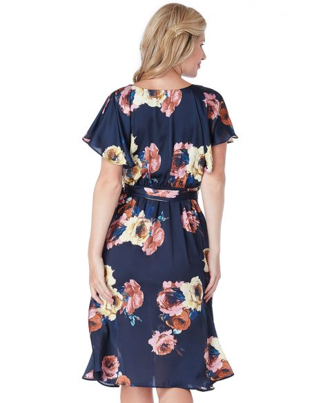 Floral Print Faux Wrap Midi Dress with Flutter Sleeves