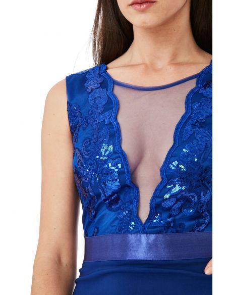Royal Blue PLUNGE NECKLINE SEQUIN EMBELLISHED MIDI DRESS