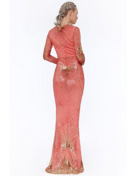 CORAL STARBURST SEQUIN MAXI DRESS
