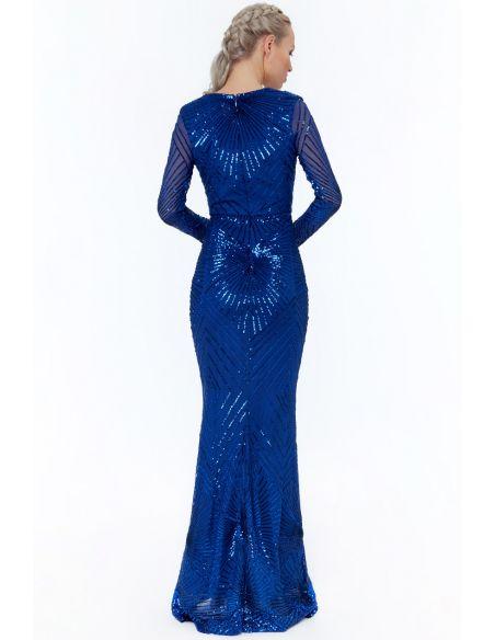 GOLD STARBURST SEQUIN MAXI DRESS