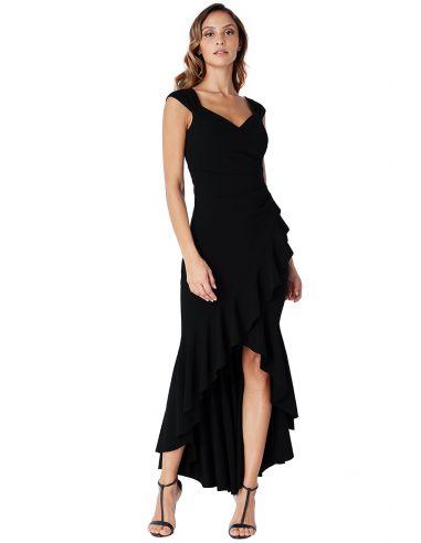 BLACK HIGH LOW FRILL HEM MAXI DRESS