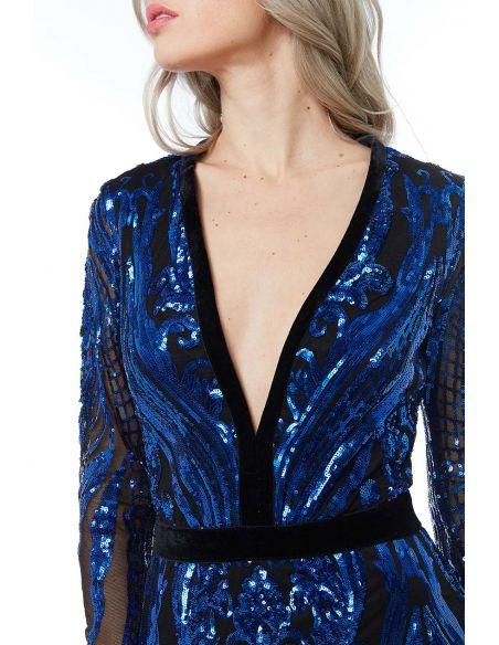 ROYAL BLUE DEEP V NECK SEQUIN EMBROIDERED MAXI DRESS