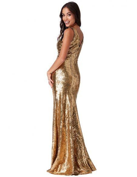 GOLD SEQUINNED LOW V NECK DRESS