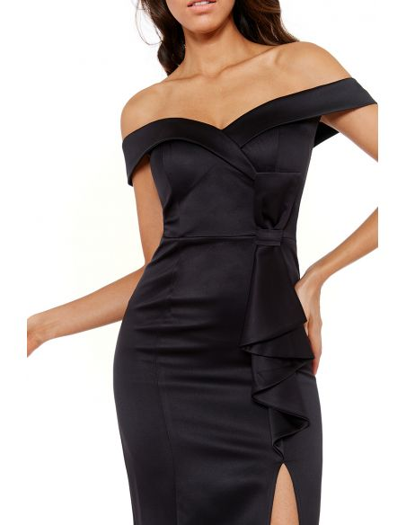 BLACK SATIN BARDOT BOW MAXI DRESS